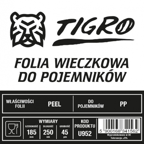 Tigro folia do zgrzewu EASY PEEL 185mm/225mb 45um U952