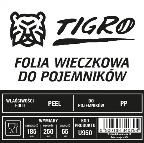Tigro folia do zgrzewu EASY PEEL 185mm/250mb 65um U950