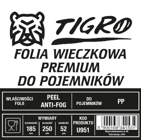 Tigro folia do zgrzewu premium EASY PEEL ANTYFOG 185mm/250mb 52um U951