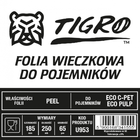 Tigro folia do zgrzewu EASY PEEL DO ECO pojemników 185mm/250mb 65um U953